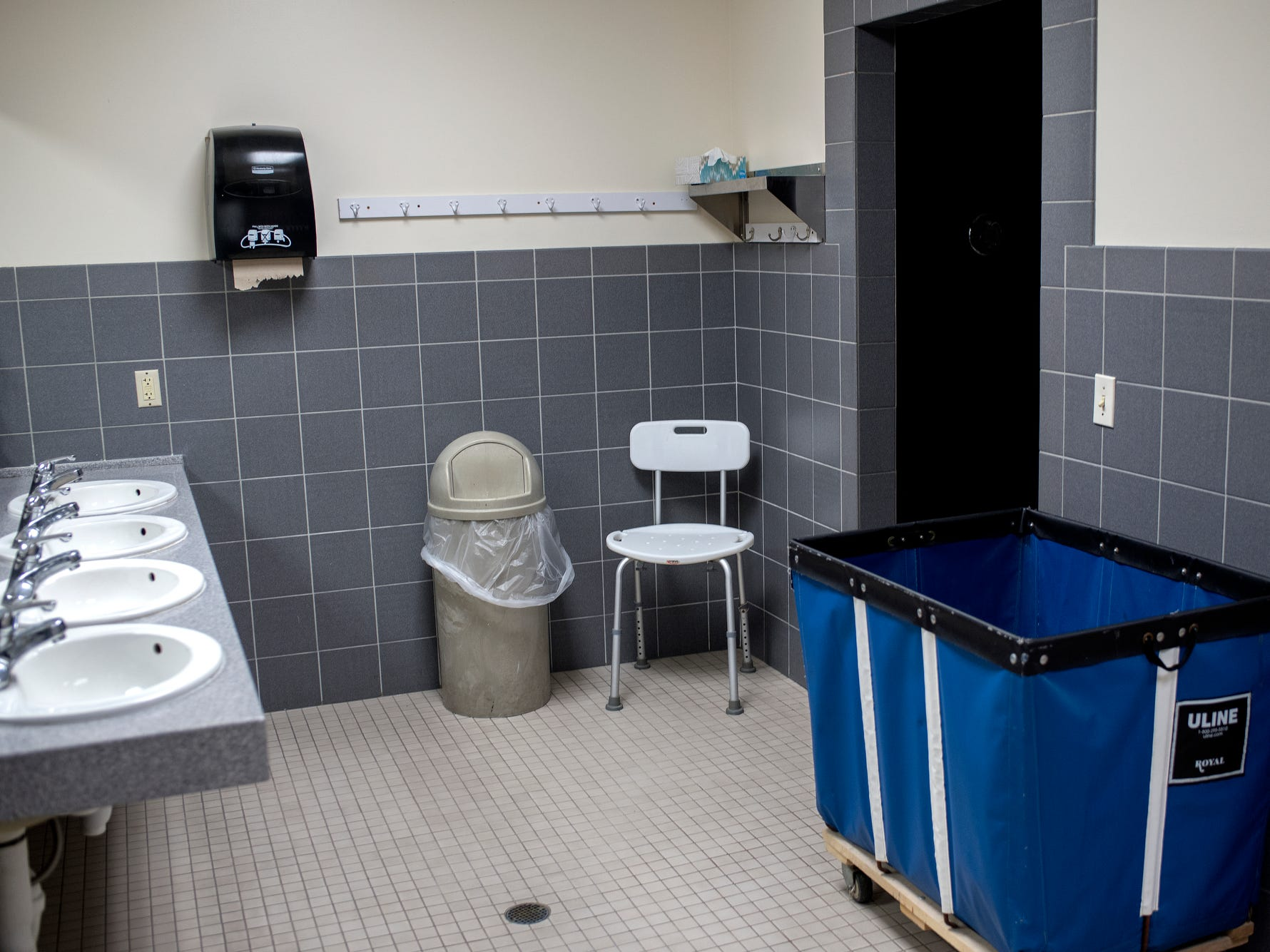 A view of the bathroom which also has a shower at the City Rescue Mission on Tuesday, Sept. 4, 2018, in downtown Lansing.