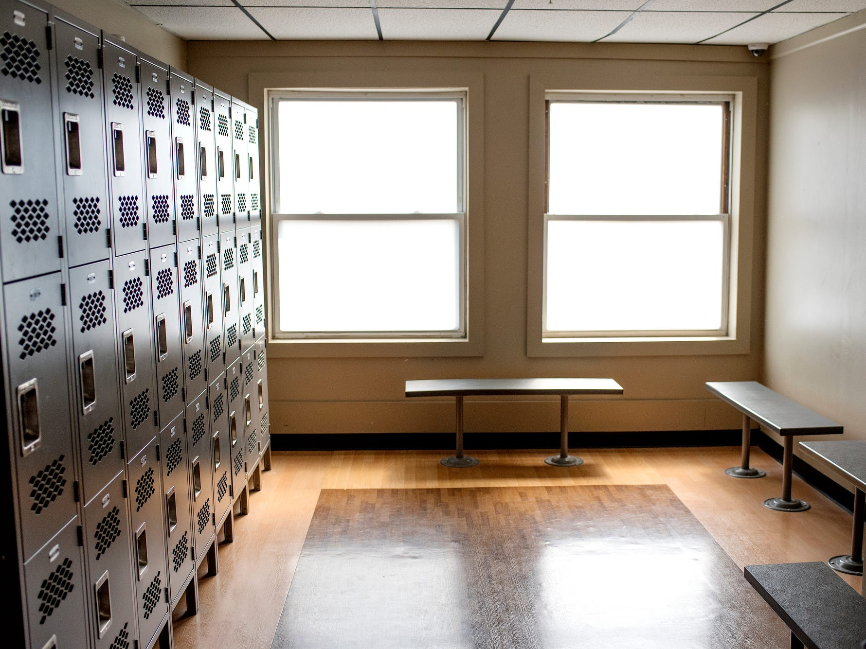 A locker room for guests photographed during a tour of the City Rescue Mission on Tuesday, Sept. 4, 2018, in downtown Lansing.