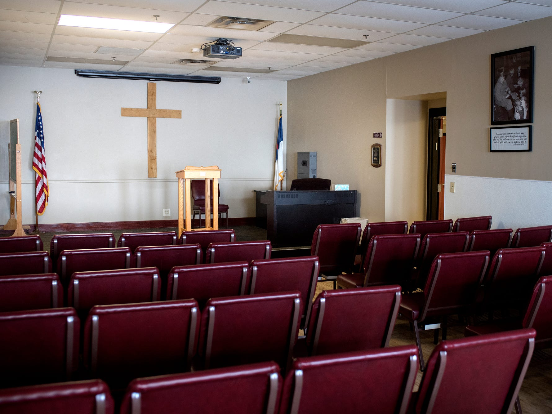 The chapel photographed during a tour of the City Rescue Mission on Tuesday, Sept. 4, 2018, in downtown Lansing.