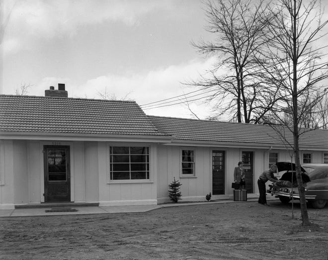 The Motel Burkewood in 1949, when it was first built.  The motel still exists on Lansing Road as the Burkewood Inn.  The motel was purchased by the Homeless Angels in 2016 and now serves as the nonprofit's new home.
