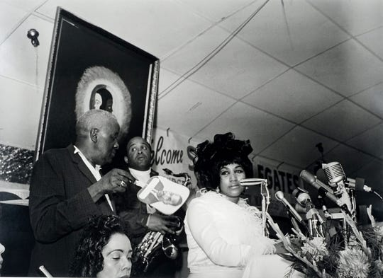Aretha Franklin at Club Paradise, Memphis, at the Southern Christian Leadership Conference convention in July, 1968, with Ben Branch (with saxophone) and Coretta Scott King (lower left).