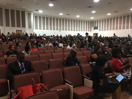 Parents, staffers and community members attend a Sept. 10, 2018, meeting at Hickory Ridge Middle School on plans to place students from Kirby High School into new buildings for the remainder of the fall semester.