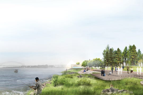 A rendering shows a redesigned Tom Lee Park. The Memphis River Parks Partnership is raising funds for the $55 million project.