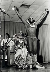 Black Moses triumphant: Isaac Hayes and Helen Washington onstage, Memphis, in the early 1970s.