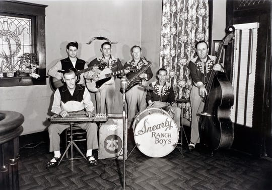 Looking gnarly, in the cool way, are the Snearly Ranch Boys at the West Memphis Cotton Club, early 1950s.