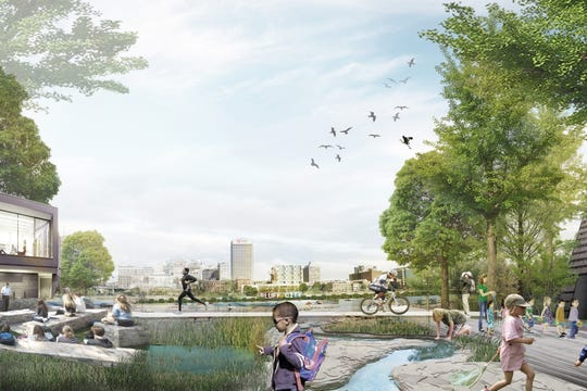 A rendering from Studio Gang shows the possibility of an Eco Hub located on Mud Island, a project that has yet to be finalized.
