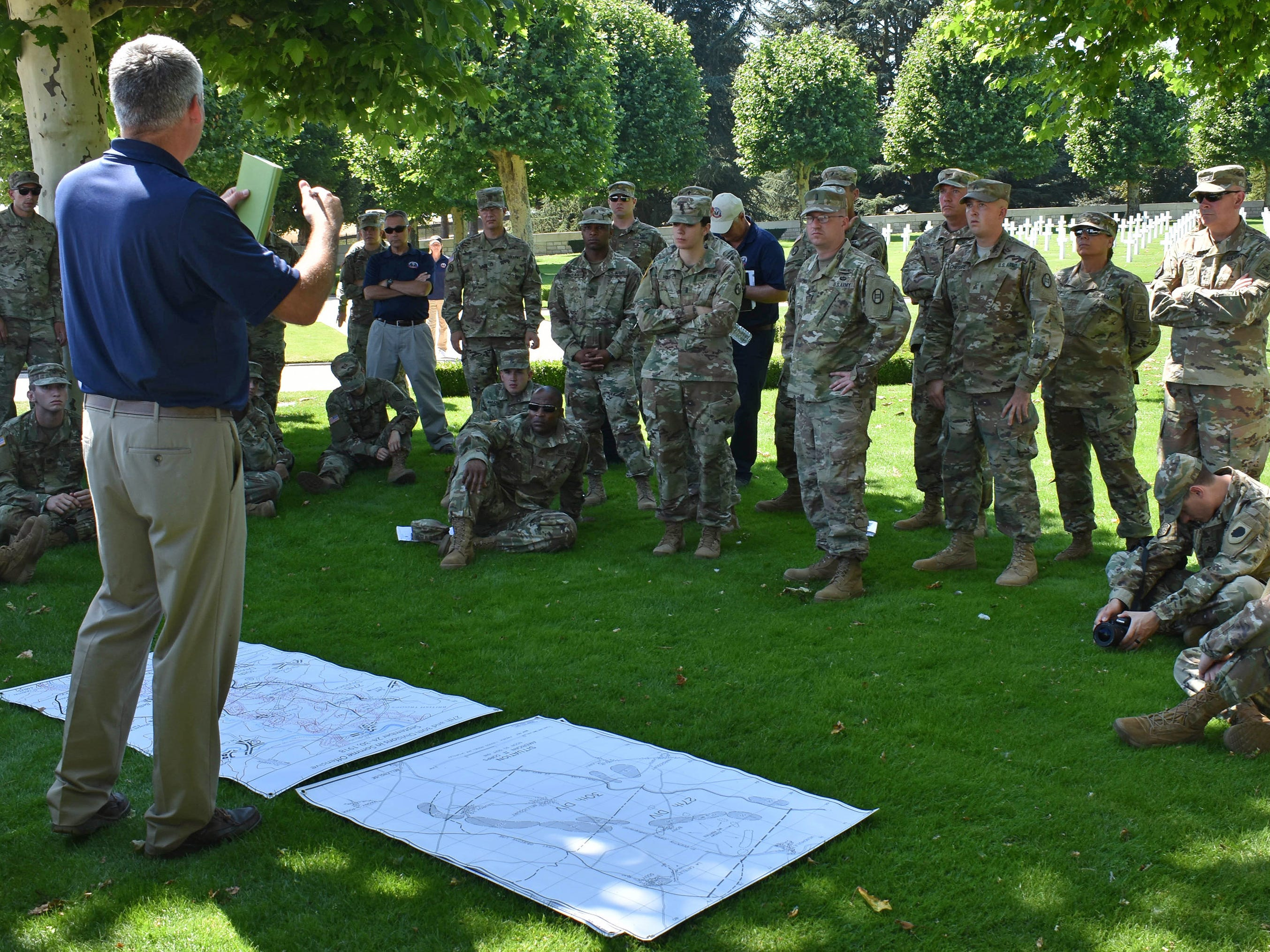 Wisconsin National Guard Maj. Brian Faltinson tells soldiers about the history of their units during the Somme Offensive of September 1918. Faltinson, a historian in the National Guard, traveled to France this summer to brief guardsmen from 15 states about World War I history at the sites of American battles.