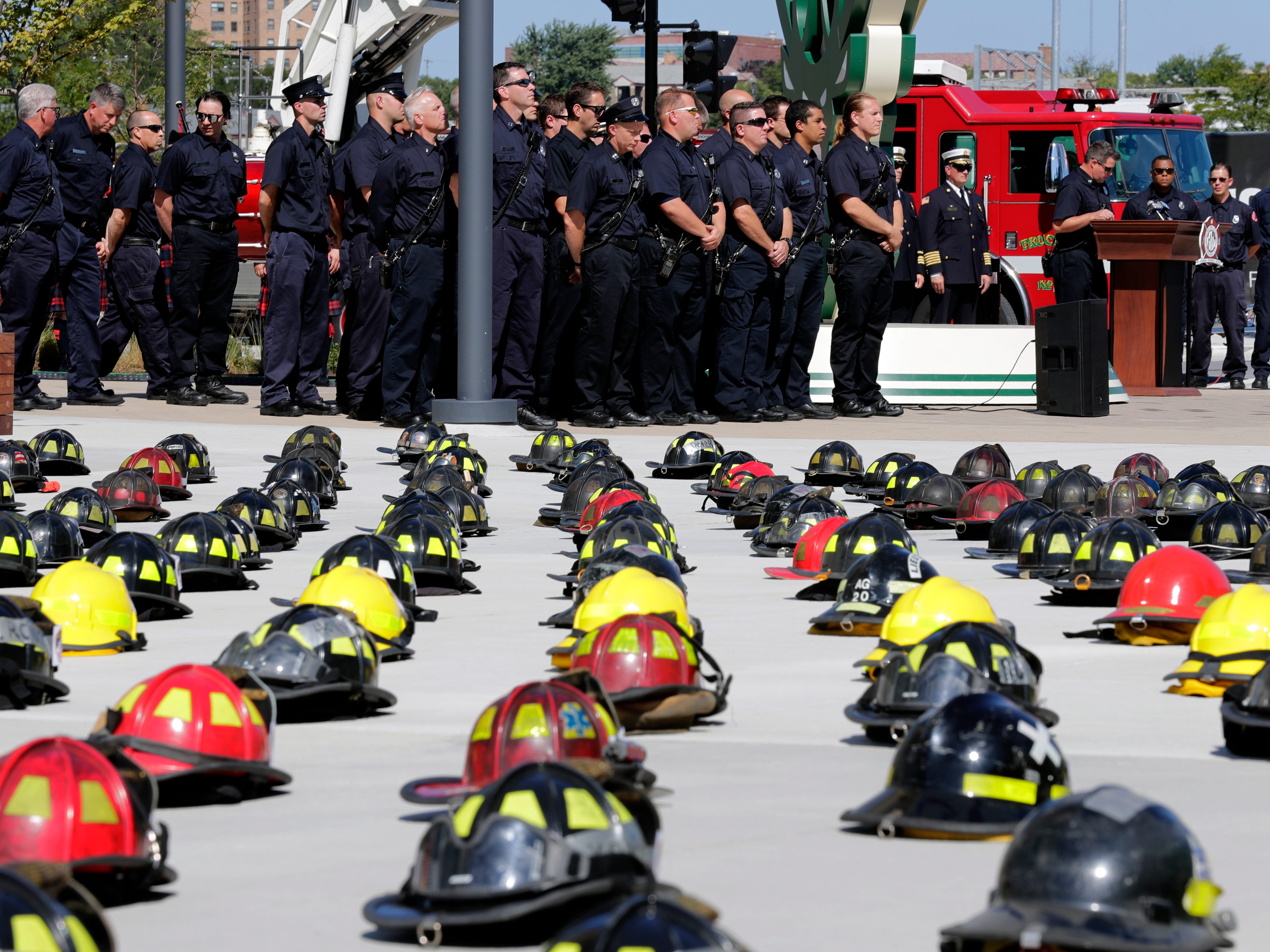 The Milwaukee Fire Department pays tribute to those who lost their lives during the 9-11 attacks.
