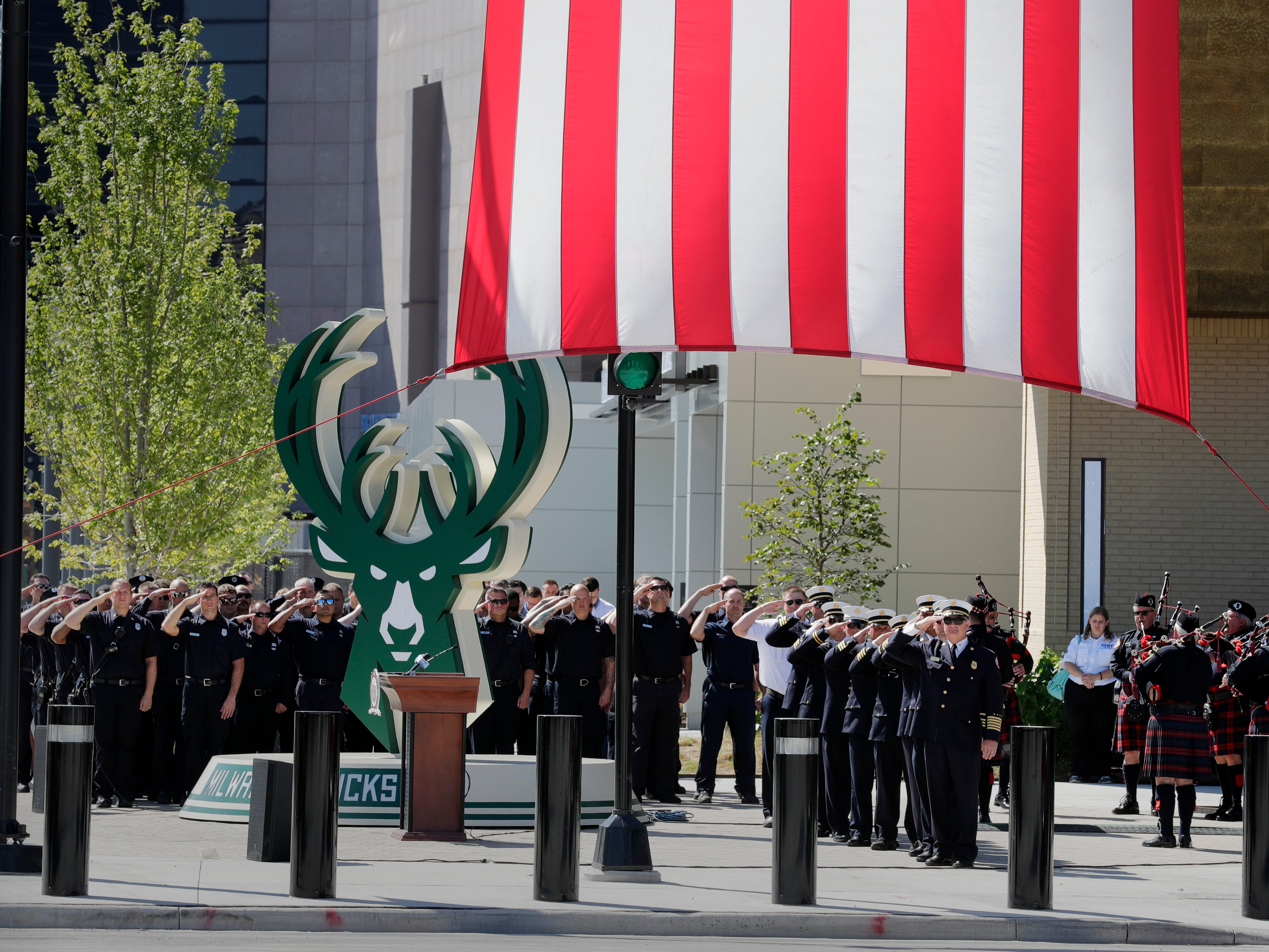 A ceremony marking the 17th anniversary of the the Sept. 11, 2001, terror attacks was held at the Fiserv Forum Tuesday.