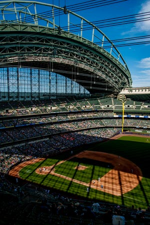 Sep 9, 2018; Milwaukee, WI, USA; A general view during the eighth inning during a game between the San Francisco Giants and the Milwaukee Brewers at Miller Park. Mandatory Credit: Patrick Gorski-USA TODAY Sports