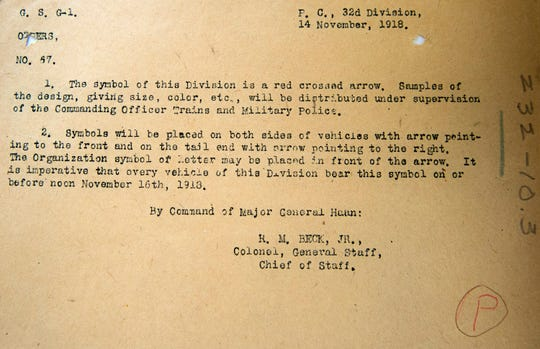 The first known mention of the 32nd Infantry Division's Red Arrow nickname was in this Nov. 14, 1918 memo by Maj. Gen. William Haan, just three days after the armistice of World War I.