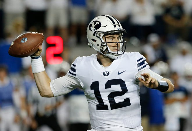 BYU quarterback Tanner Mangum throws against California during the Cougars' second game of the season.