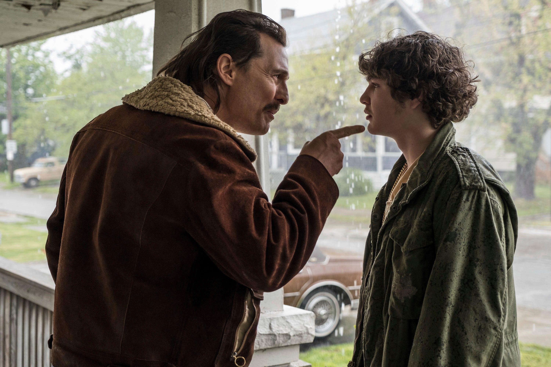 "Matthew McConaughey (left) tries to set his son (Richie Merritt) straight in ""White Boy Rick."""