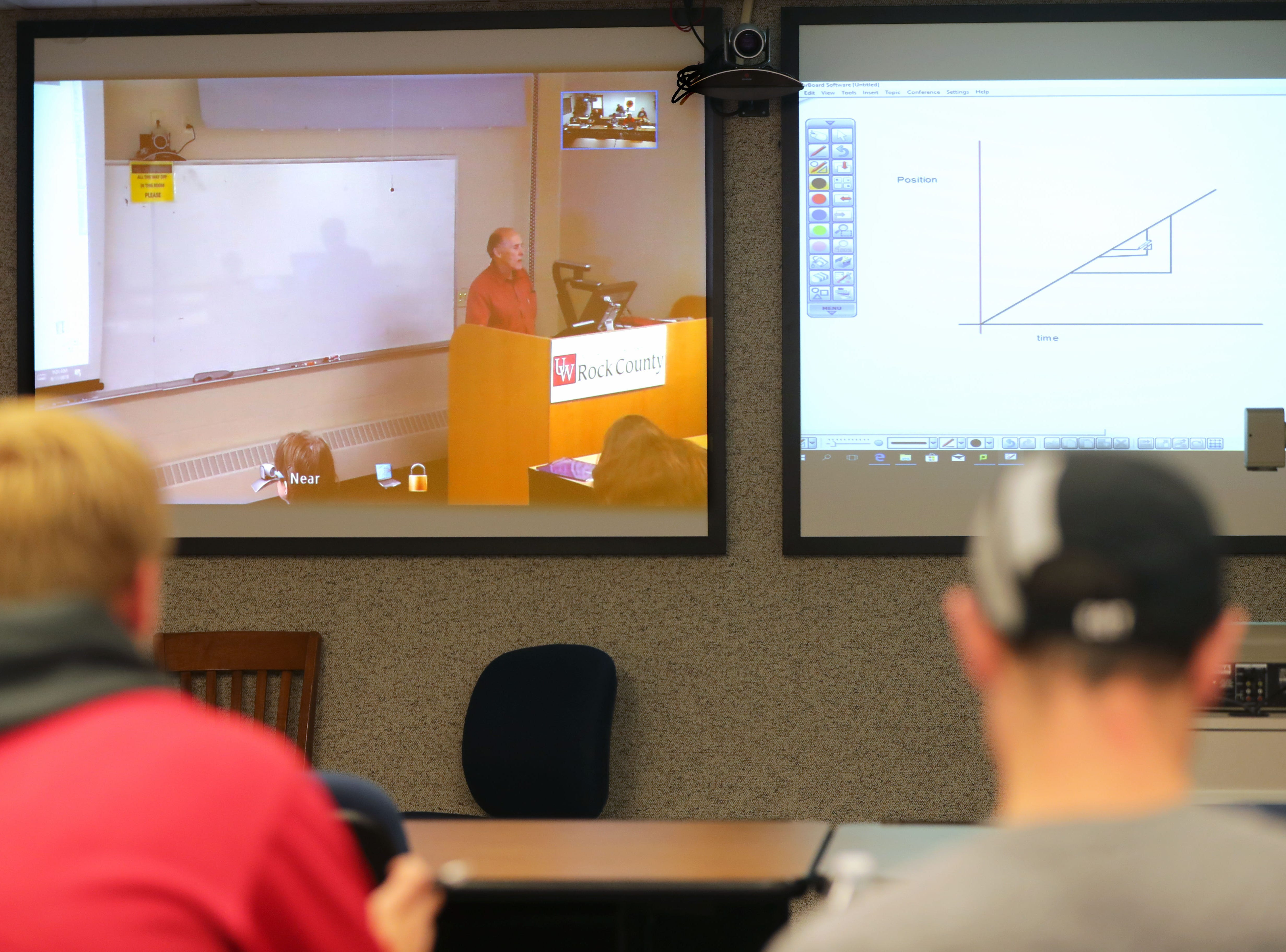University of Wisconsin-Green Bay, Sheboygan Campus students attend a  physics class being taught remotely via a video conference by Thomas Hall from the University of Wisconsin Rock County campus instructed by Thomas Hall from the University of Wisconsin-Whitewater at Rock County.