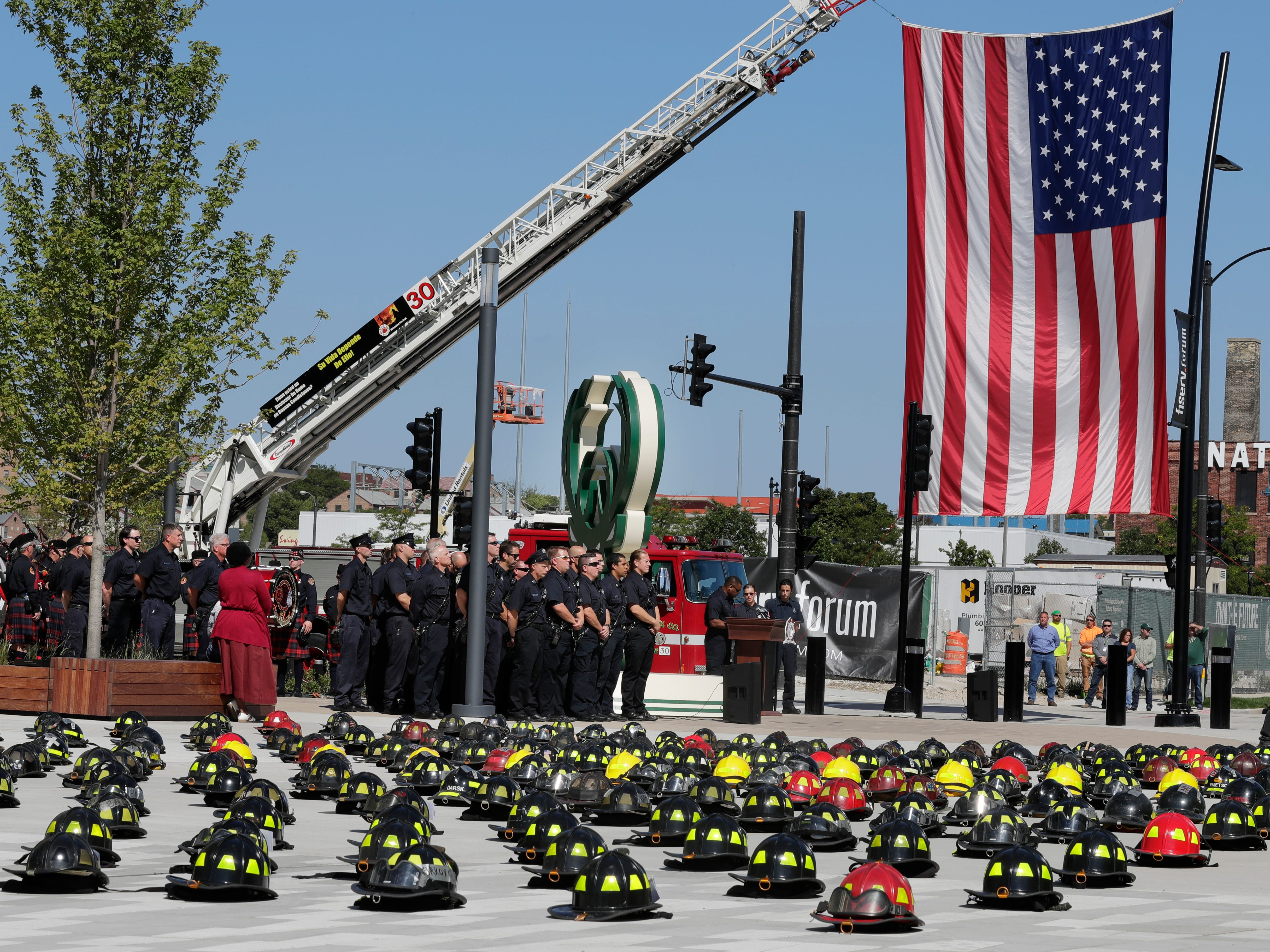 The Milwaukee Fire Department commemorates the 17th anniversary of the 9-11 attacks and honors those who lost their lives during a ceremony at Fiserv Forum.