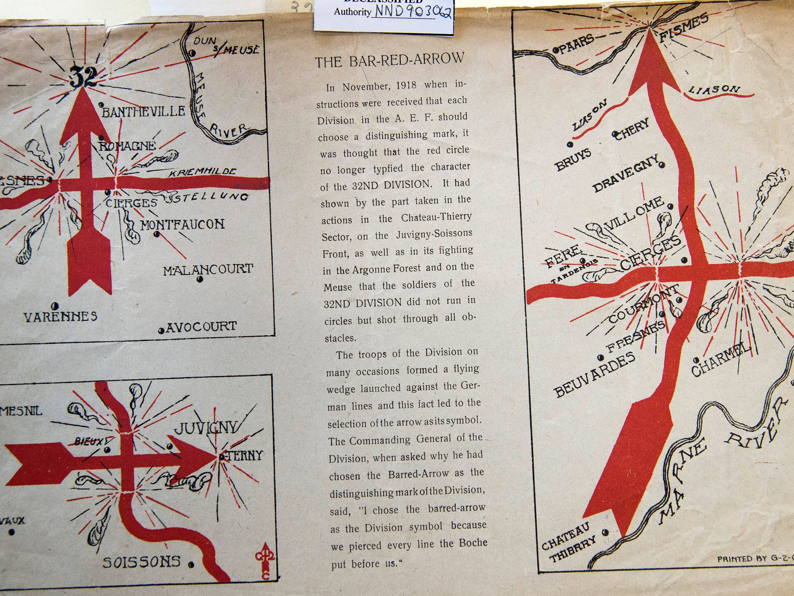 A pamphlet illustrates the 32nd Red Arrow Division's three major offensive actions in World War I - the Second Battle of the Marne, Battle of Juvigny and the Meuse-Argonne Offensive. The division of national guard units from Wisconsin and Michigan got the nickname because it sliced through enemy lines like a red arrow.