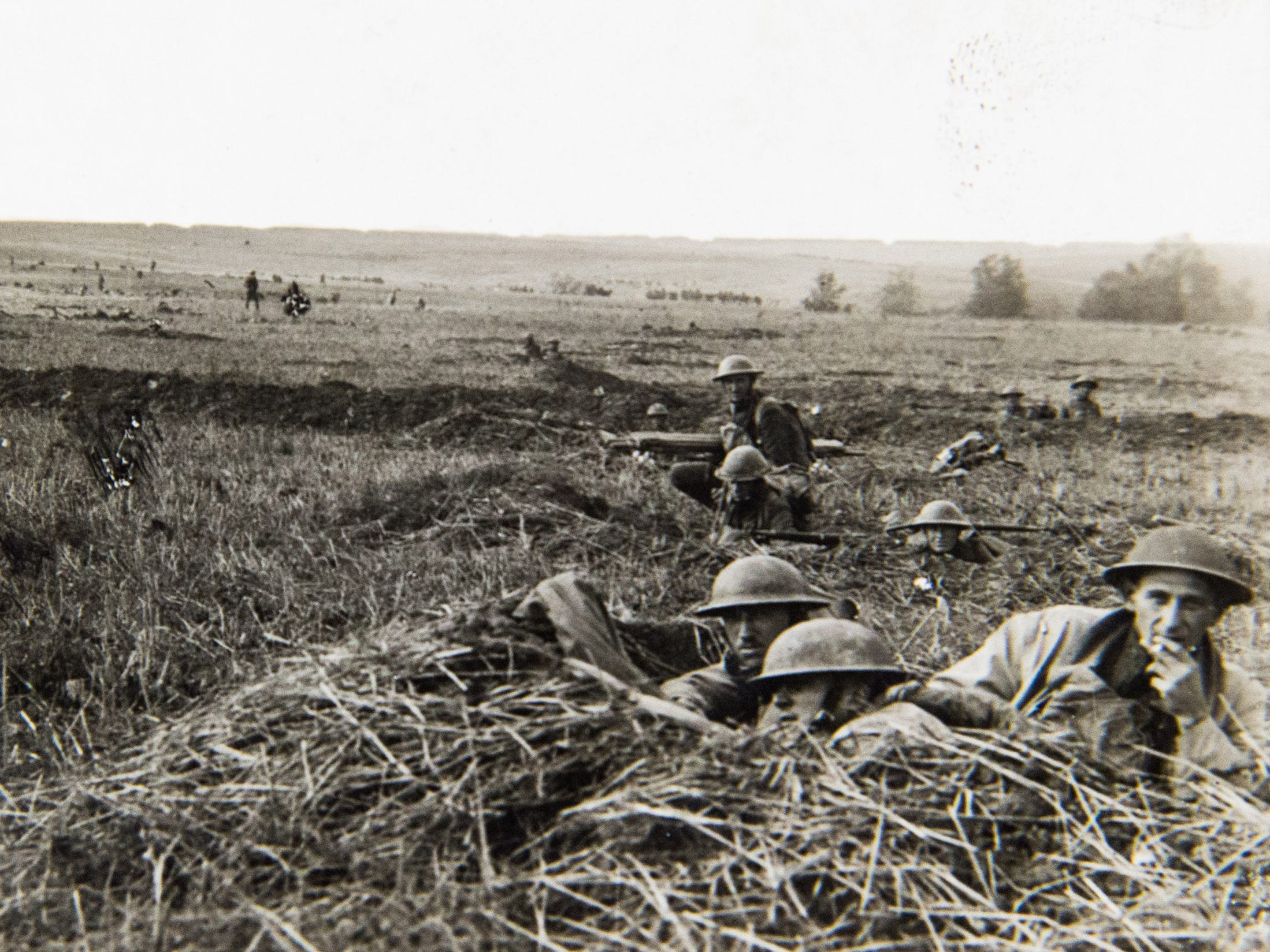 Soldiers from the 32nd Division, composed of men from the Wisconsin and Michigan National Guard units, make final preparations on Aug. 8, 1918, for the attack that became known as the Second Battle of the Marne. Wisconsin National Guard historian Maj. Brian Faltinson this summer visited the site of this battle where a temporary cemetery was installed for casualties of the battle.