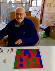 A file photo shows Robert Indiana with a rendering of how the BRAT sculpture will look once it's complete.