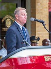 Montgomery Director of Public Safety Ronald Sams gives opening remarks during the annual September 11 remembrance ceremony.