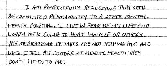 Part of a letter written in July of 2016 by Ruth Ward to Circuit Court Judge Gregory Griffin about her son's condition.