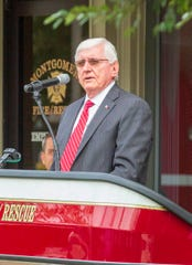 Montgomery City Council President Charles Jinright speaks during the annual September 11 remembrance ceremony.