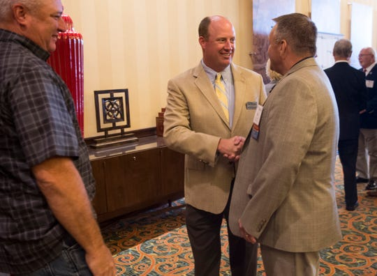Will Ainsworth, Republican nominee for Lt. Governor talks with constituents during the Public Retiree Convention at Renaissance Hotel in Montgomery, Ala., on Tuesday, Sept. 11, 2018.