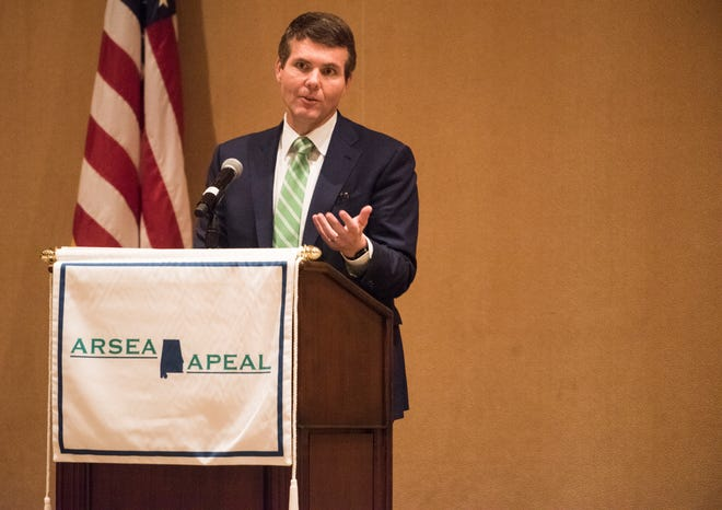Walt Maddox, Democratic nominee for Governor, speaks during the Alabama Retired State Employee Association/Alabama Public Employee Advocacy League Candidate Forum in Montgomery, Ala., on Tuesday, Sept. 11, 2018.