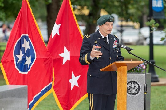 Keith M. Huber, senior adviser for veterans and leadership initiatives at MTSU, reflects on the events on Sept. 11, 2001, during the 17th anniversary of the day the U.S. was attacked. Huber spoke during the 9/11 Observance Sept. 11 in the Veterans Memorial site.