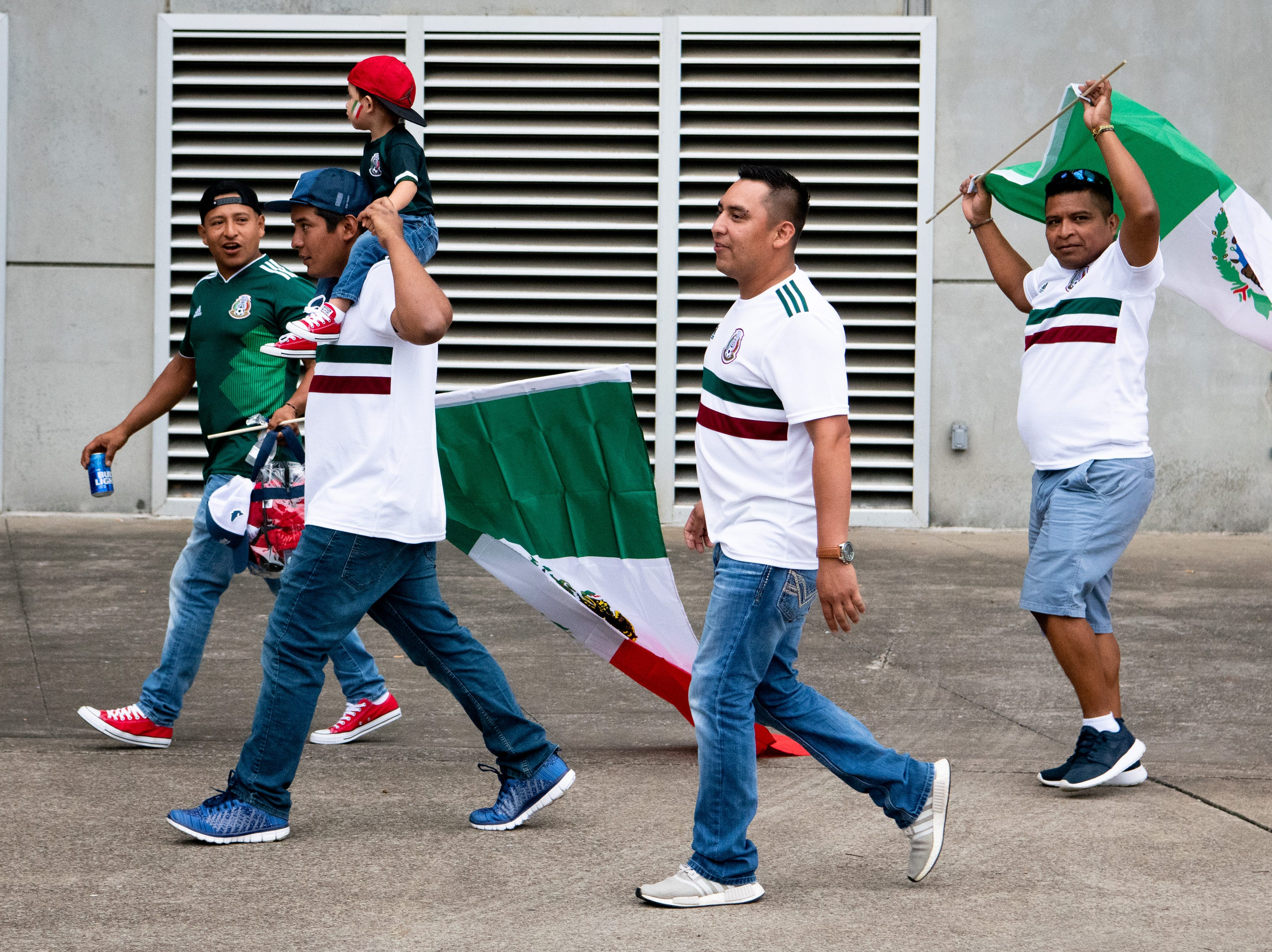 Fans arrive before the game between USA and Mexico at Nissan Stadium in Nashville, Tenn., Tuesday, Sept. 11, 2018.