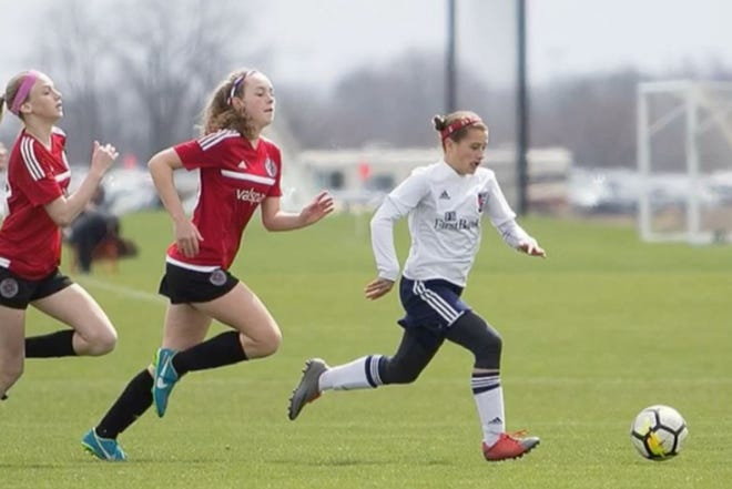 Katie Shea Collins (in front) has been selected for the US Youth Soccer Olympic Development Program.