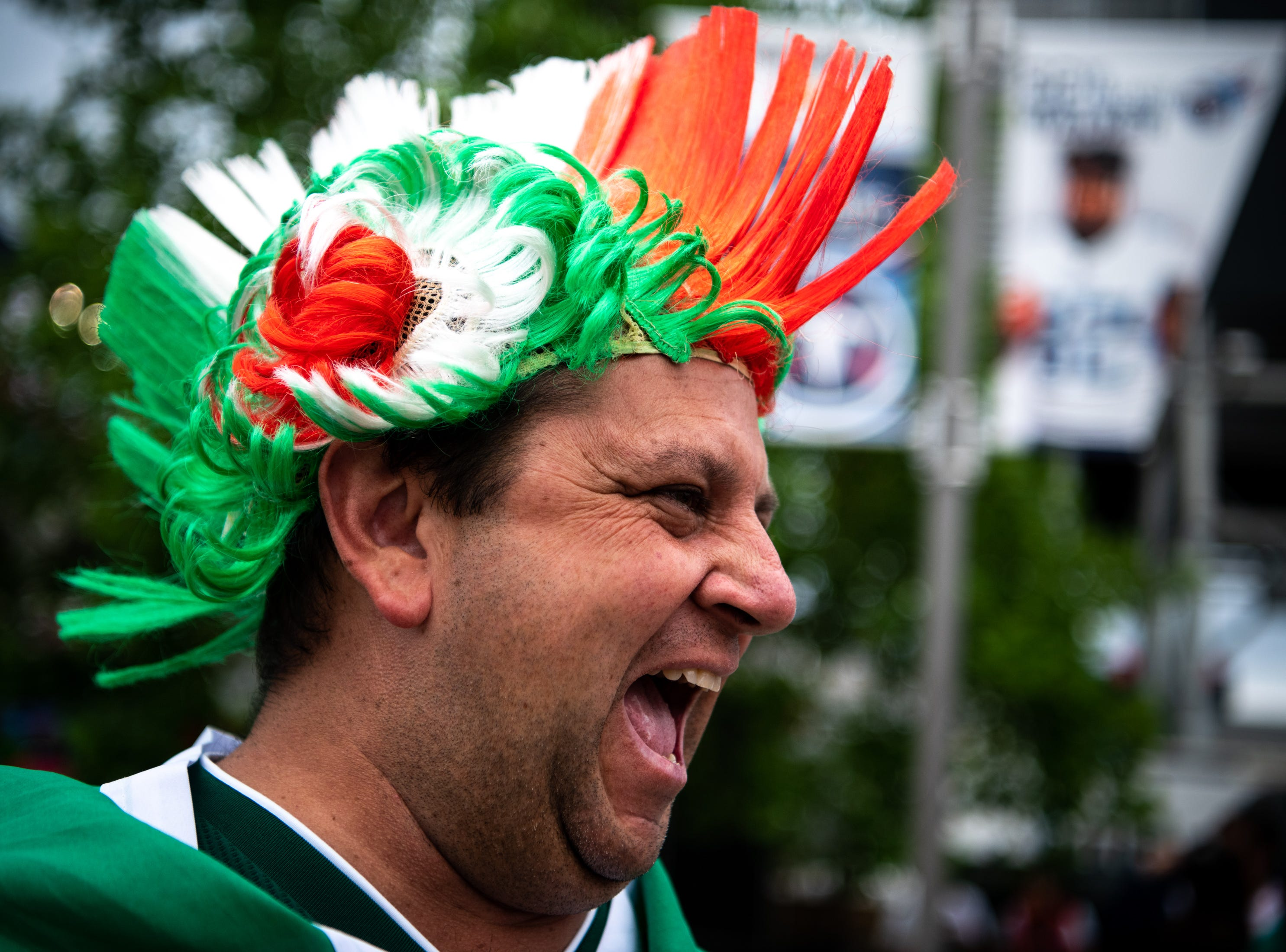 Patrick Canizares, of Orlando, Fla., cheers outside of the stadium before the game between USA and Mexico at Nissan Stadium in Nashville, Tenn., Tuesday, Sept. 11, 2018.