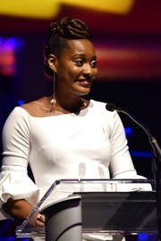 Miya Robertson, 2018 TPAC Teacher of the Year, speaks at the 18th annual TPAC Gala on Aug. 25.