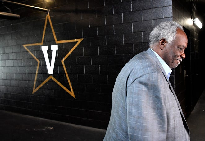 Vanderbilt athletics director David Williams leaves a press conference after confirming he will resign as athletics director and vice chancellor Tuesday Sept. 11, 2018, in Nashville, Tenn.