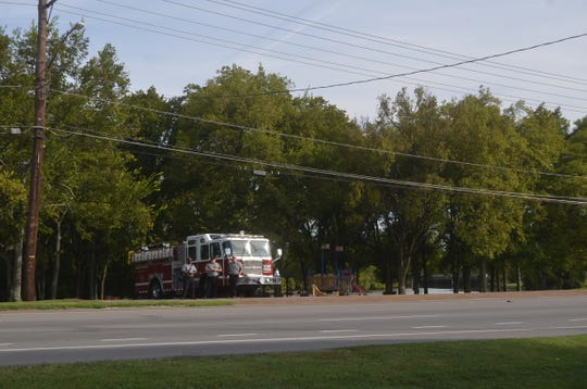 One of Hendersonville's fire engines turned its siren on during the 9/11 commemorative ceremony Sept. 11, 2018.
