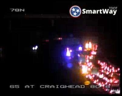 A downed power line has closed traffic on Interstate 65 northbound in Nashville near the Interstate 440 split.