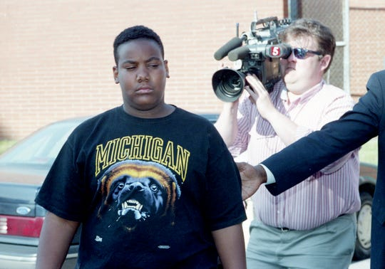Jeremy Bryant, 14, arrives at Metro Juvenile Detention on April 21, 1994, where he was charged with criminal homicide in the accidental shooting of fellow classmate and friend Terrance Murray at John Trotwood Moore Middle School.