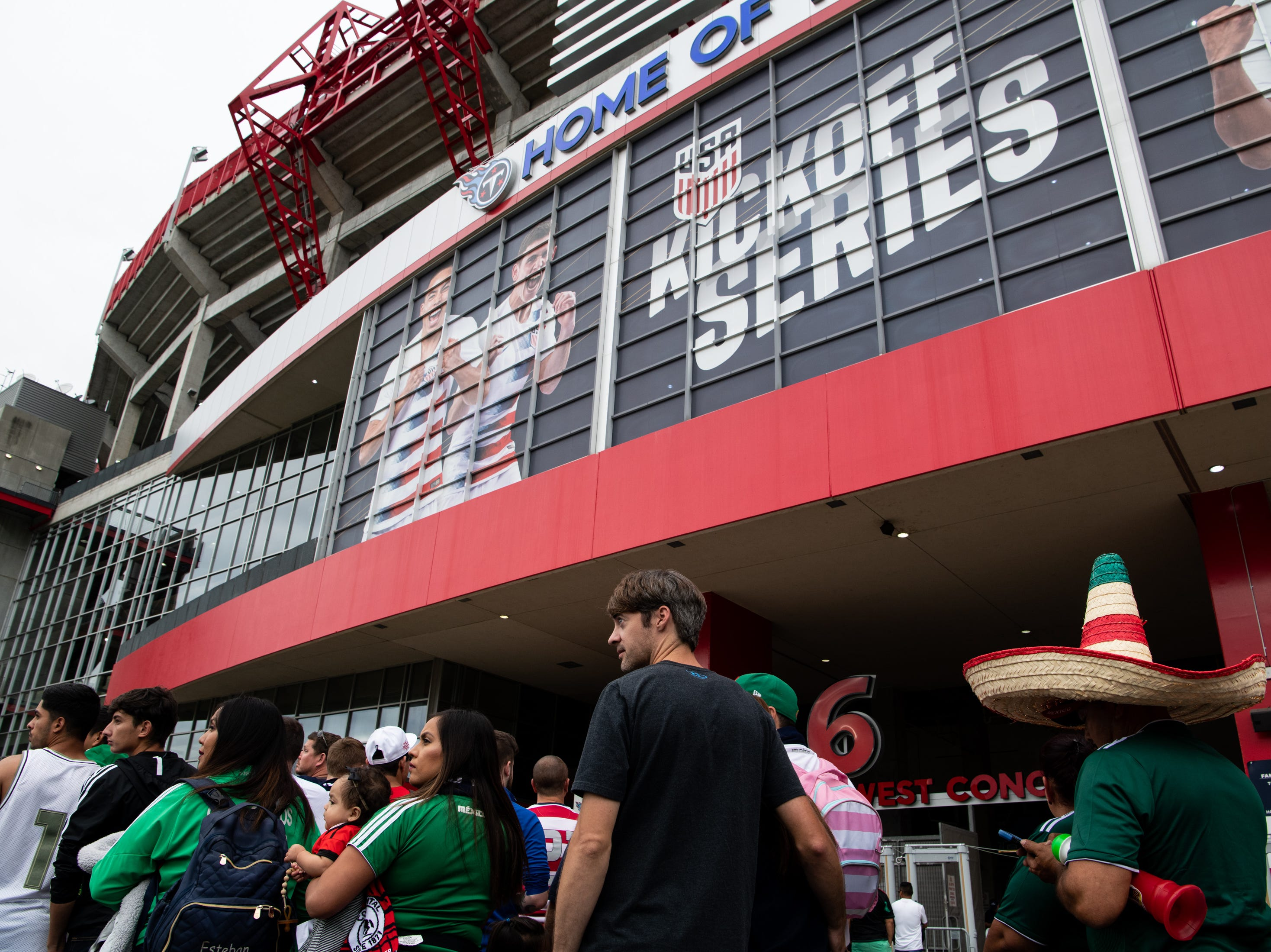 Fans line up before the game between USA and Mexico at Nissan Stadium in Nashville, Tenn., Tuesday, Sept. 11, 2018.
