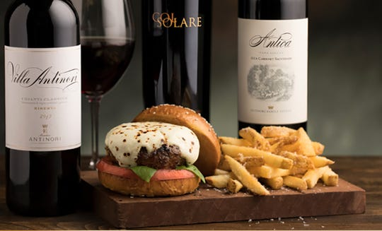 Capital Grille's Wagyu & Wine event through Nov. 18 pairs Antinori wines with Wagyu beef gourmet burgers such as this Caprese-style burger with heirloom tomato, 15-year aged balsamic and fresh mozzarella.