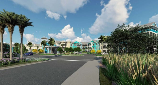 A rendering of the entrance to The Colonnade of Estero, a planned continuing care retirement community located on 21 acres along Corkscrew Road.