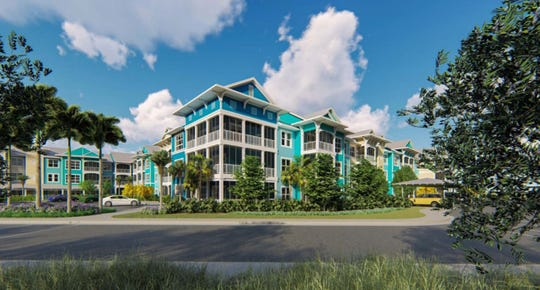 A rendering of the independent living building at The Colonnade of Estero, a planned continuing care retirement community located on 21 acres along Corkscrew Road.