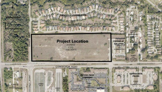 The black box outlines the location of The Colonnade of Estero, a planned continuing care retirement community located on 21 acres along Corkscrew Road.