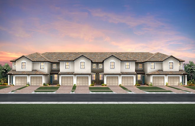 The new carriage homes at Del Webb Naples in Ave Maria.