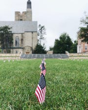 American flags fly on the quadrangle at St. Lawrence University in Canton, New York. The flags are placed each Sept. 11 by the university's college Democrats and Republicans in honor of those killed in the 2001 terror attacks.