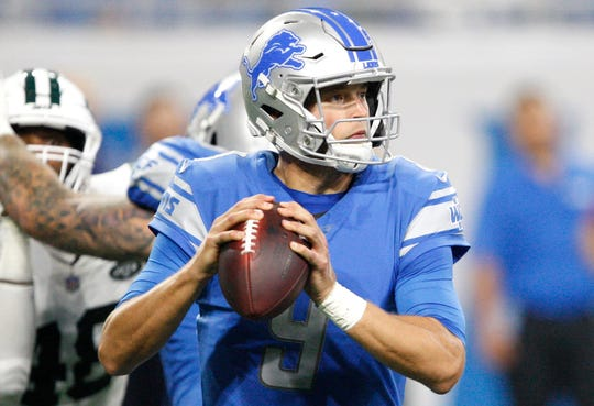 Sep 10, 2018; Detroit, MI, USA; Detroit Lions quarterback Matthew Stafford (9) looks for an open man during the second quarter against the New York Jets at Ford Field. Mandatory Credit: Raj Mehta-USA TODAY Sports