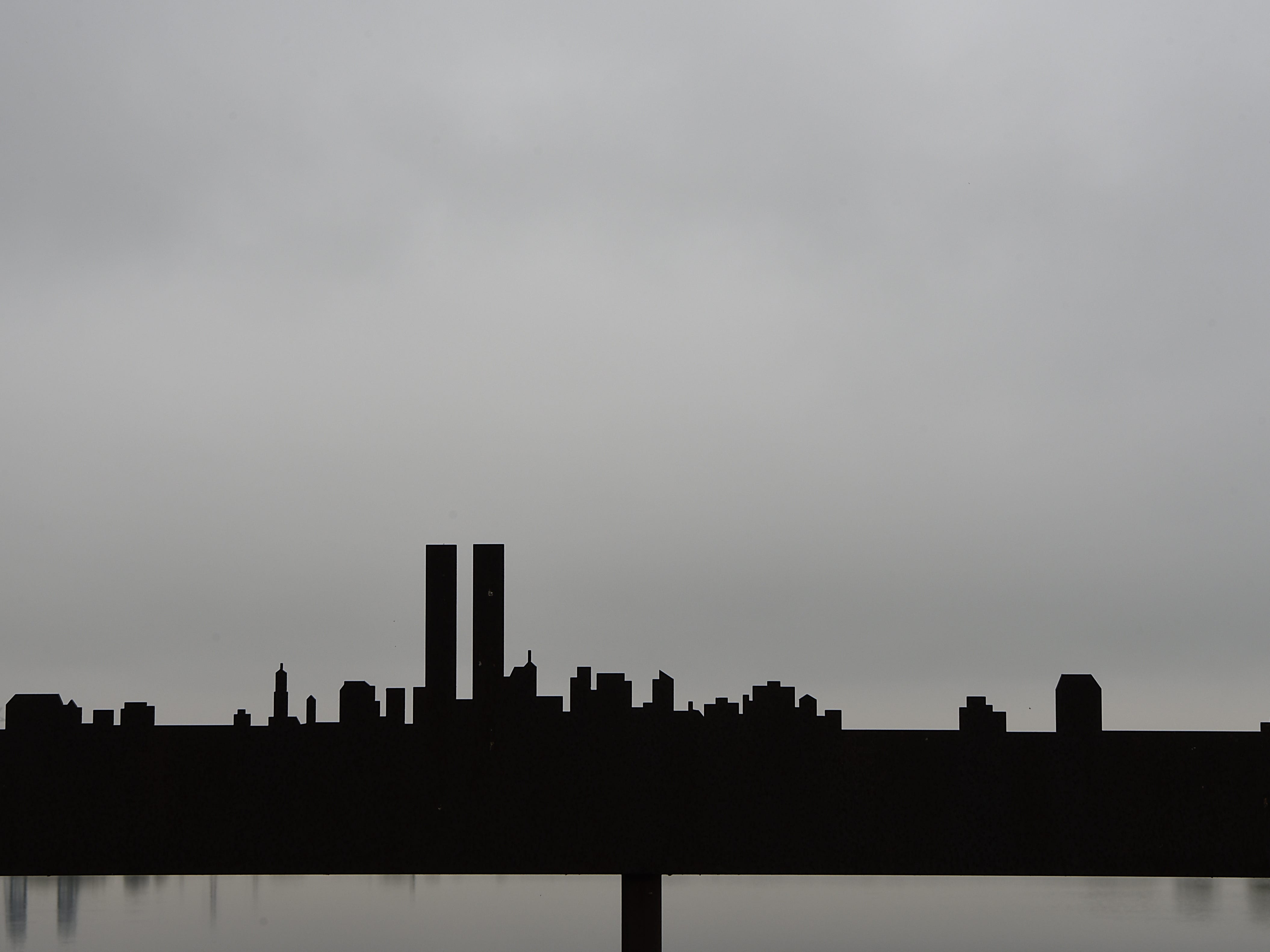 Metal sculpture of the skyline including the twin towers at DeKorte Park in Lyndhurst on Tuesday September 11, 2018.