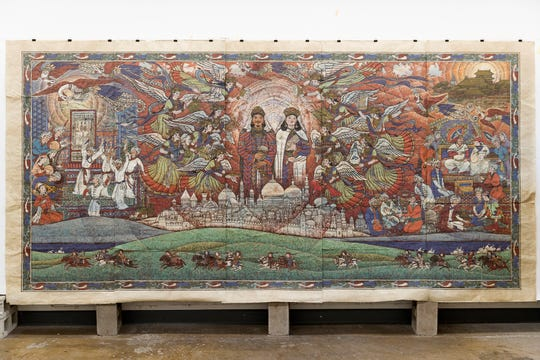 Cong's painting, 'Song Of the Phoenix: Paper Money Delivered to the West,' was completed, using Chinese pigments and rice paper.
