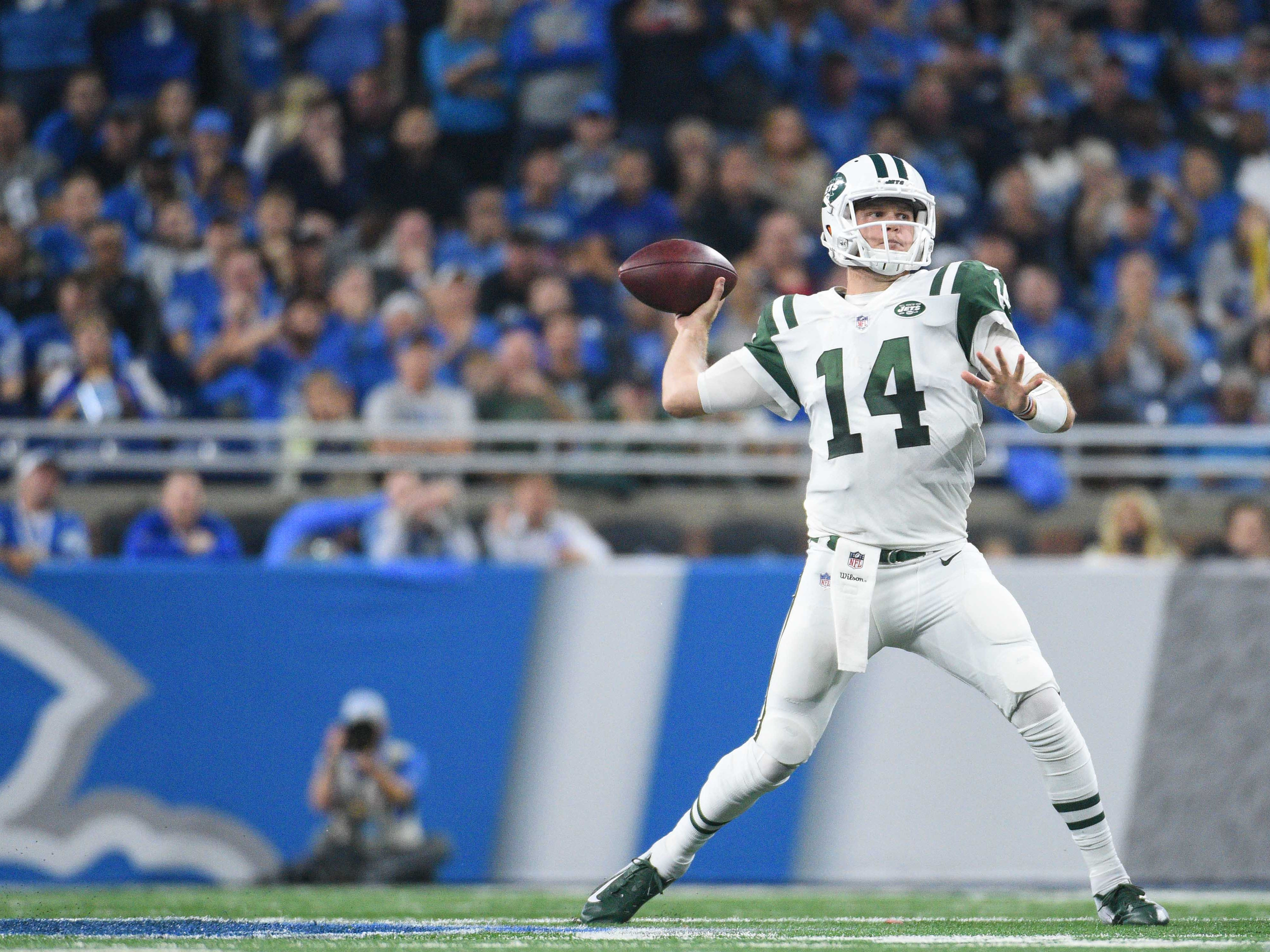 Sep 10, 2018; Detroit, MI, USA; New York Jets quarterback Sam Darnold (14) drops back to pass during the second quarter against the Detroit Lions at Ford Field. Mandatory Credit: Tim Fuller-USA TODAY Sports