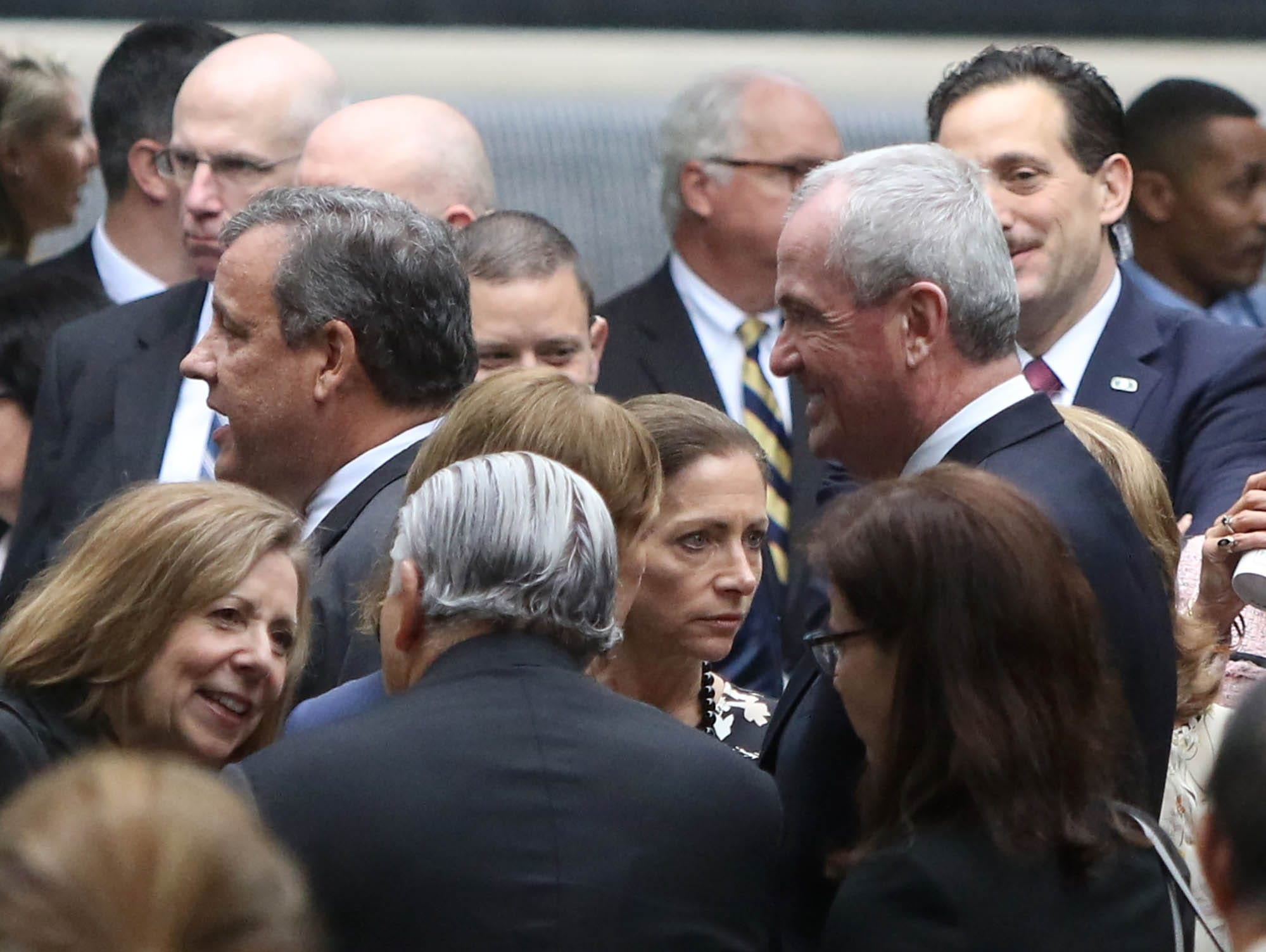 Former New Jersey Governor Chris Christie and present New Jersey Governor Phil Murphy prior to the ceremonies at the National September 11 Memorial observing the 17th anniversary of the attacks that killed people in Manhattan, the Pentagon, Flight 93 and honoring those who died in the 1993 World Trade Center bombing.