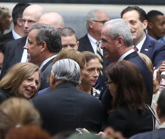 Former New Jersey Gov. Chris Christie and present New Jersey Gov. Phil Murphy before the 2018 ceremonies at the National September 11 Memorial observing the 17th anniversary of the attacks that killed people in Manhattan, at the Pentagon and on Flight 93 and honoring those who died in the 1993 World Trade Center bombing.