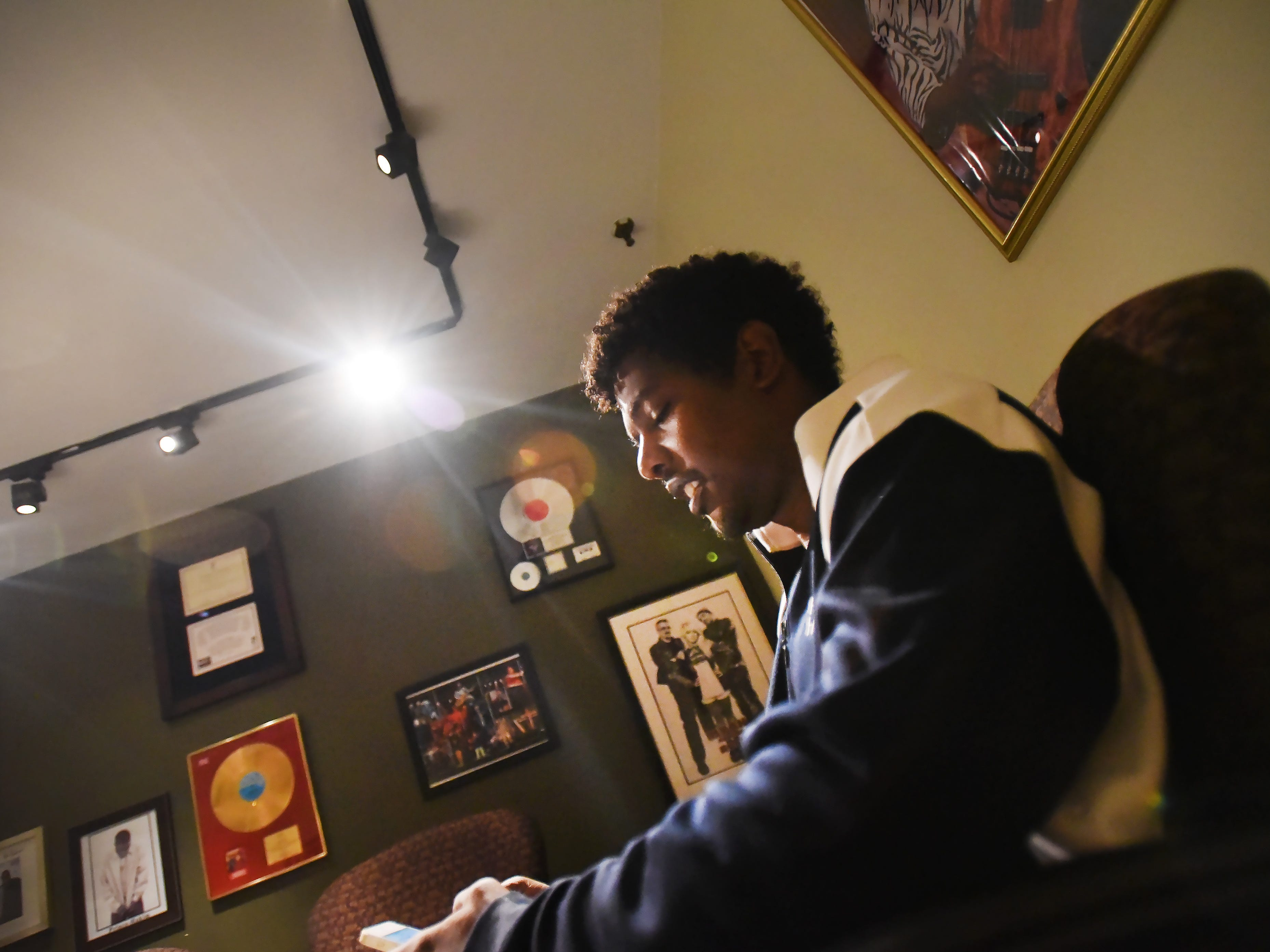 DJ Prince Hakim, the son of Kool from Kool and the Gang, who is making a name for himself as a producer and performer, is seen at his office in Montclair on 09/10/18.His new track ROYALTY will make its debut on WBLS next Thursday.